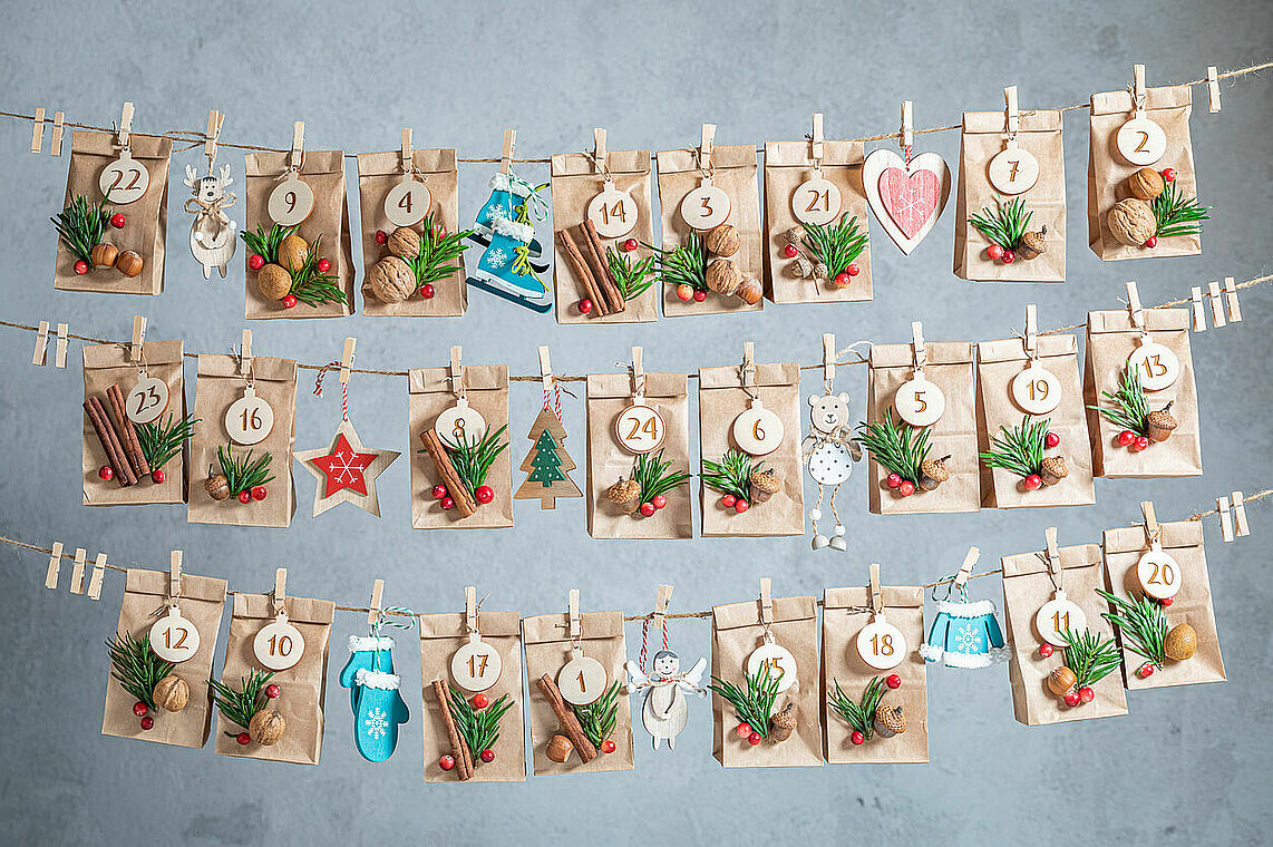 Creative Advent Calendar for Christmas as countdown to Christmas Eve